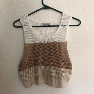 Sweater Open Knit Crop Top
